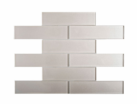 Stardust White 2X8 Glass Mosaic Tile Position: 1
