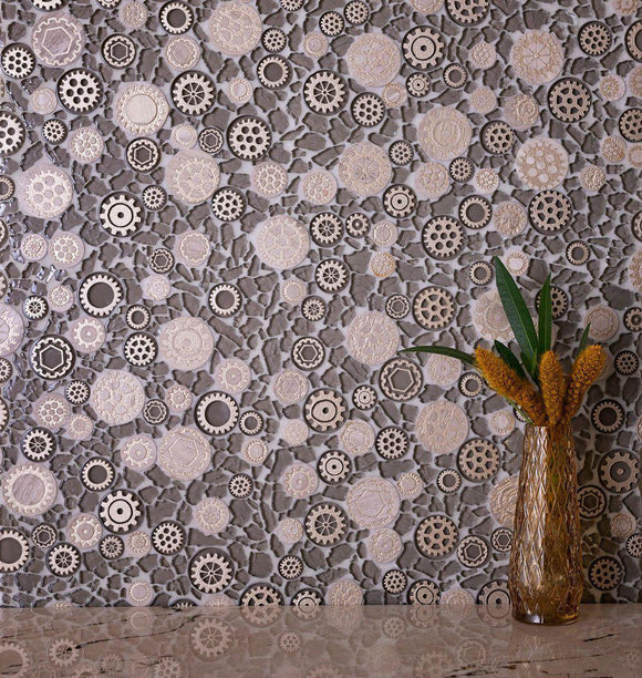 Steampunk Brown Glass and Resin Polished Mosaic Tile