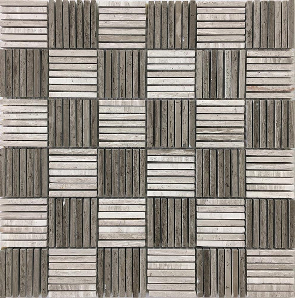Sticks Wooden Beige Marble Mosaic Tile | Tile Club | Position1