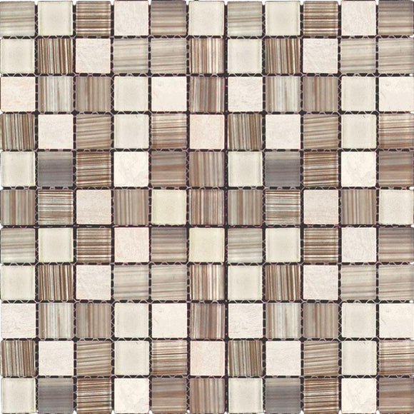 Striped Glass And Stone Mix Mosaic Tile | Tile Club | 11.8