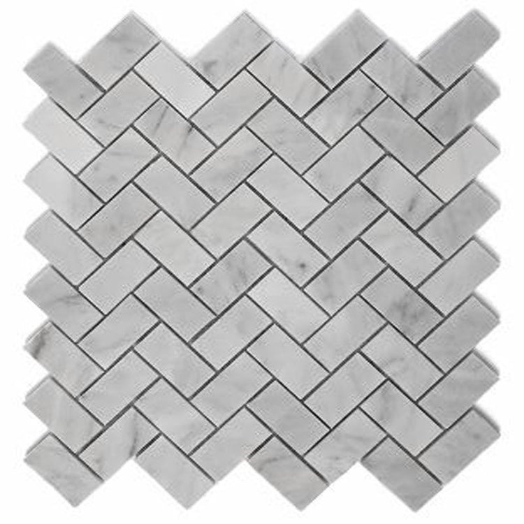 "Carrara 1"" x 2"" Herringbone Tile"