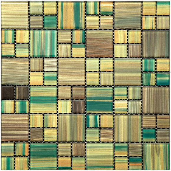 TCND-25 Beige, Yellow, Green TROPICAL JUNGLE GLASS MOSAIC  TILE | Tile Club | 11.8