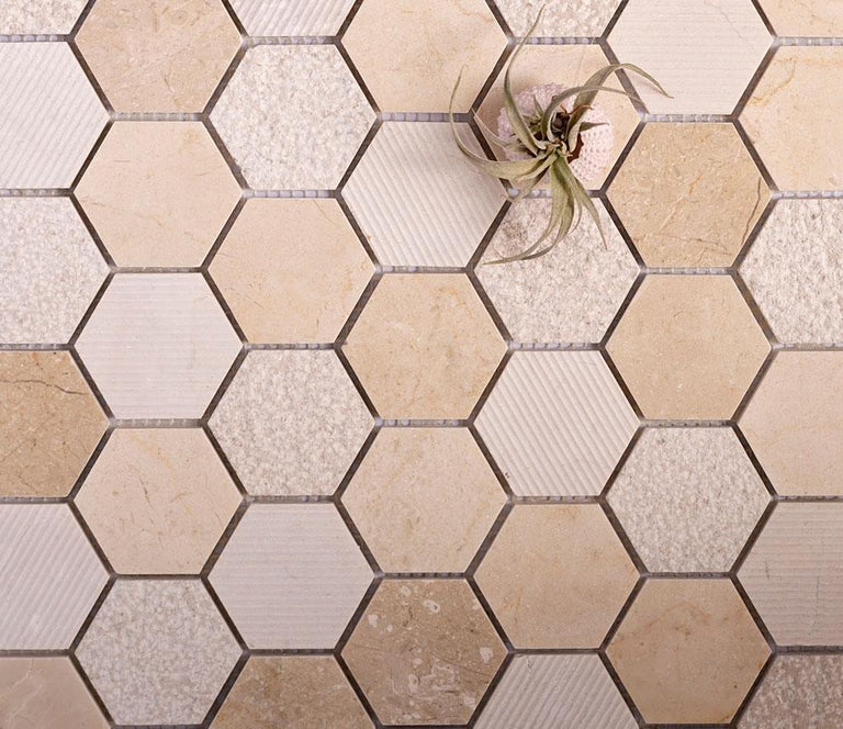 Beige textured hexagon tile for Kitchen|honeycomb marble tile