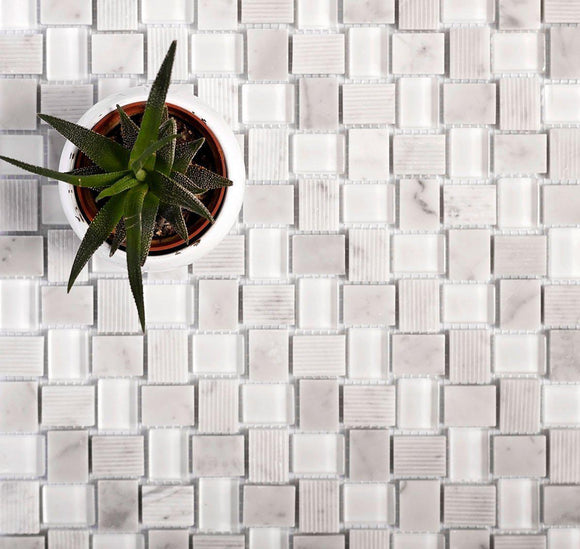 Textured Mini Brick Carrara And Glass Mosaic Tile