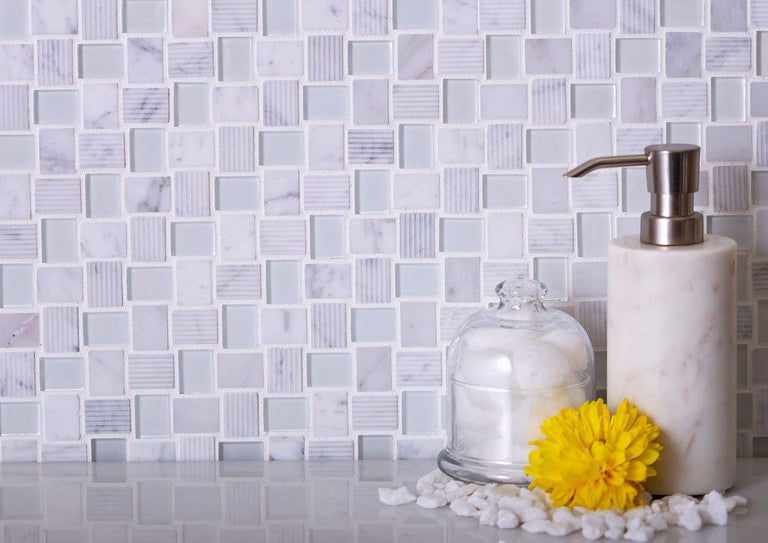 Textured Mini Brick Carrara And Glass Mosaic Tile Position: 1
