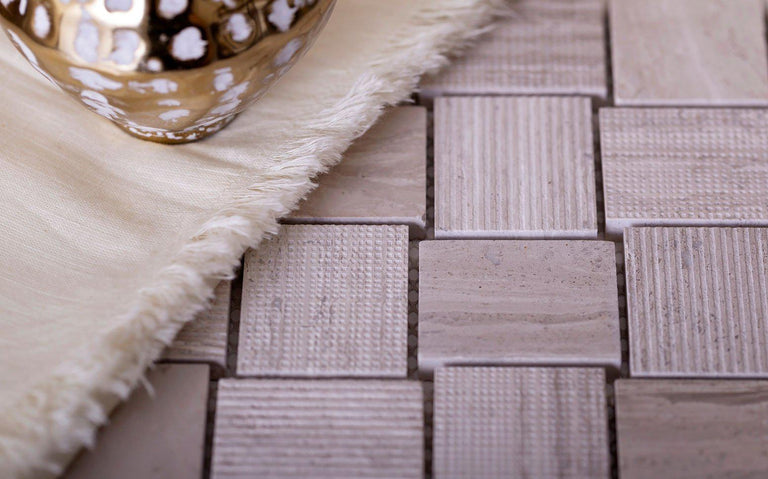Textured Wooden Beige Brick Marble Mosaic Tile Position: 3