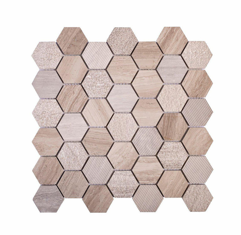 Textured Wooden Beige Honeycomb Hexagon Marble Mosaic Tile Position: 2