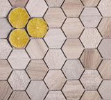 Textured Wooden Beige Honeycomb Hexagon Marble Mosaic Tile Position: 1