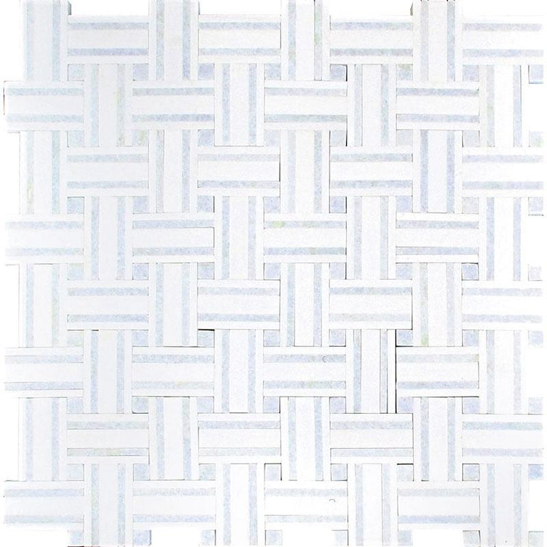 Thassos And Azul Cielo Tight Joint Basket Weave Marble Mosaic Tile | basket weave tile