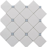 Thassos Diagonal Square And Azul Cielo Dots Marble Mosaic Tile