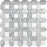 Thassos Square And Carrara Octagon Marble Mosaic Tile position: 1