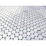 Thassos White Polished 1 inch Penny Round Marble Mosaic Tile