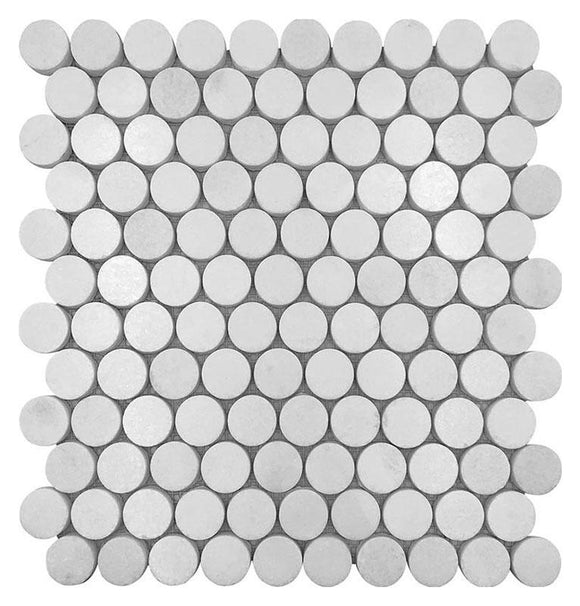 Thassos White Marble 1 Inch Round Penny Tiles