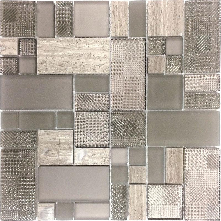 Versailles Athens Grey Marble And Glass Mosaic Tile | Position1