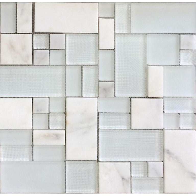 Versailles Pear White Marble And Glass Mosaic Tile | Position1