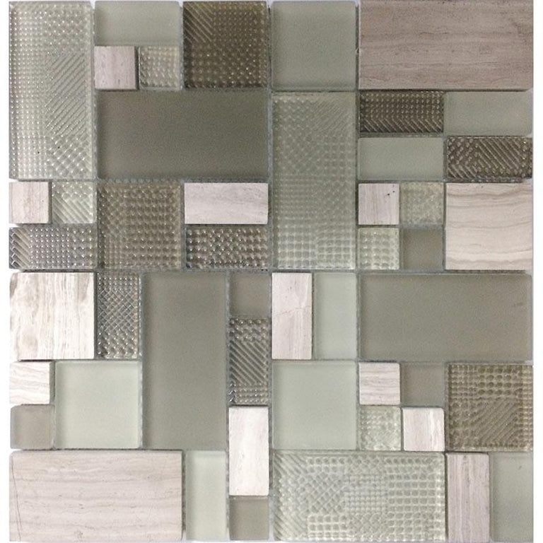 Versailles Woden Beige Marble And Glass Mosaic Tile | Position1