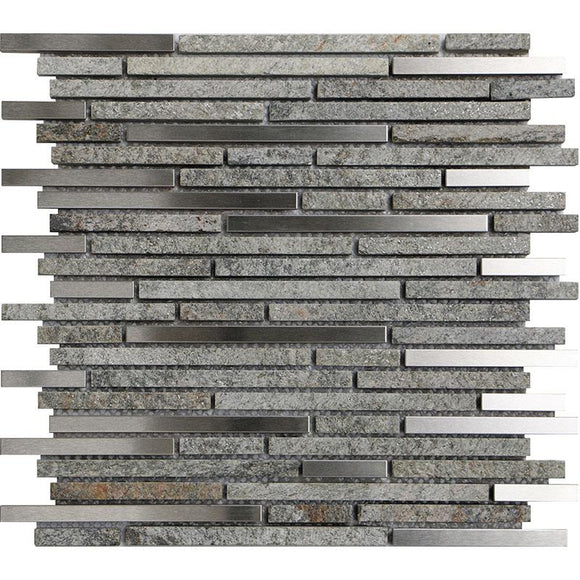 Waterfall Metal Quartz Linear Metal And Quartz Mosaic Tile position: 1