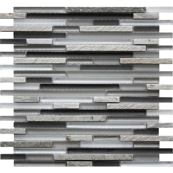 TileClub Waterfall Quartz Linear Glass & Quartz Mosaic Tile position: 1