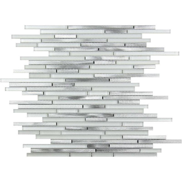 Waterfall Silver White Linear Glass & Metal Mosaic Tile position: 1