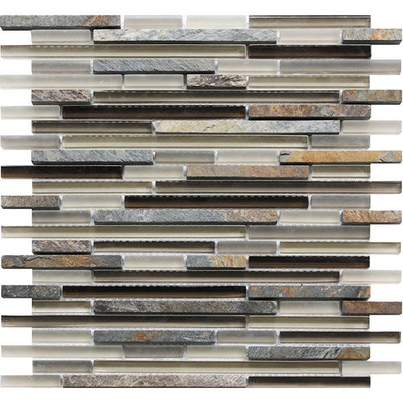 Tile Club | Waterfall Slate Linear Glass & Slate Mosaic Tile position: 1