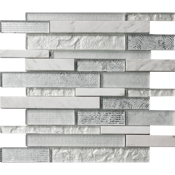 Waterfall Waves White Linear Glass Mosaic Tile | Tile Club | Position1