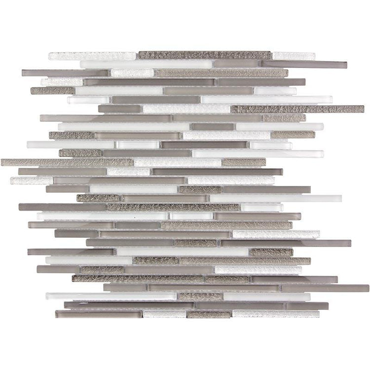 Waterfall White And Grey Linear Glass Mosaic Tile | Tile Club | Position1