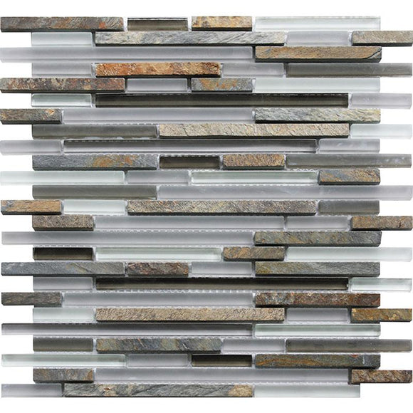 Waterfall White Slate Linear Glass And Slate Mosaic Tile position: 1