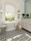 Weaving Flower Carrara & Thassos Marble Mosaic Tile Floor for an Elegant Bathroom