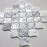 White carrara arabesque mosaic tile