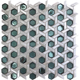 White Emerald Weaved Hexagon Glass Mosaic Tile | Tile Club | Position1