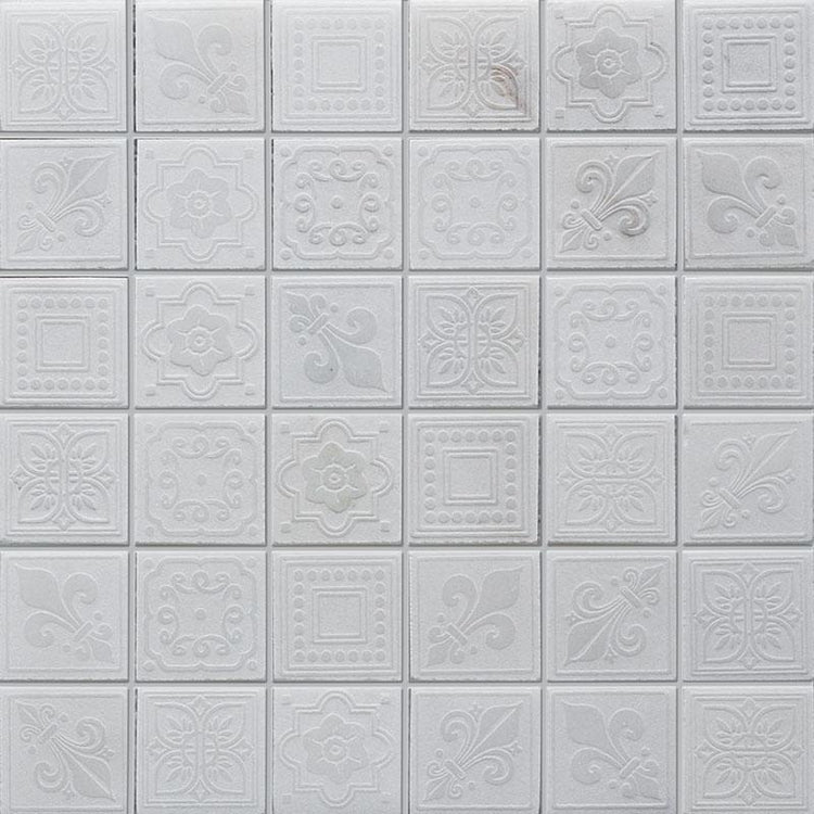 "12"" x 12"" White Etched Square Marble Mosaic Tile"