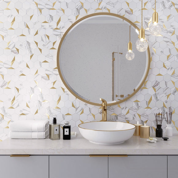 Modern Gold and White Marble Look Peel and Stick Bathroom Vanity Tile Backsplash