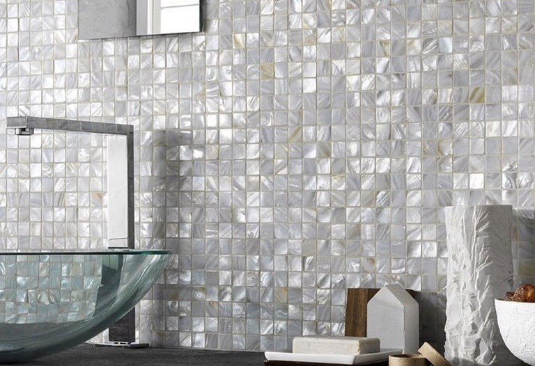 "White Mother Of Pearl 1"" Square Mosaic Tile"