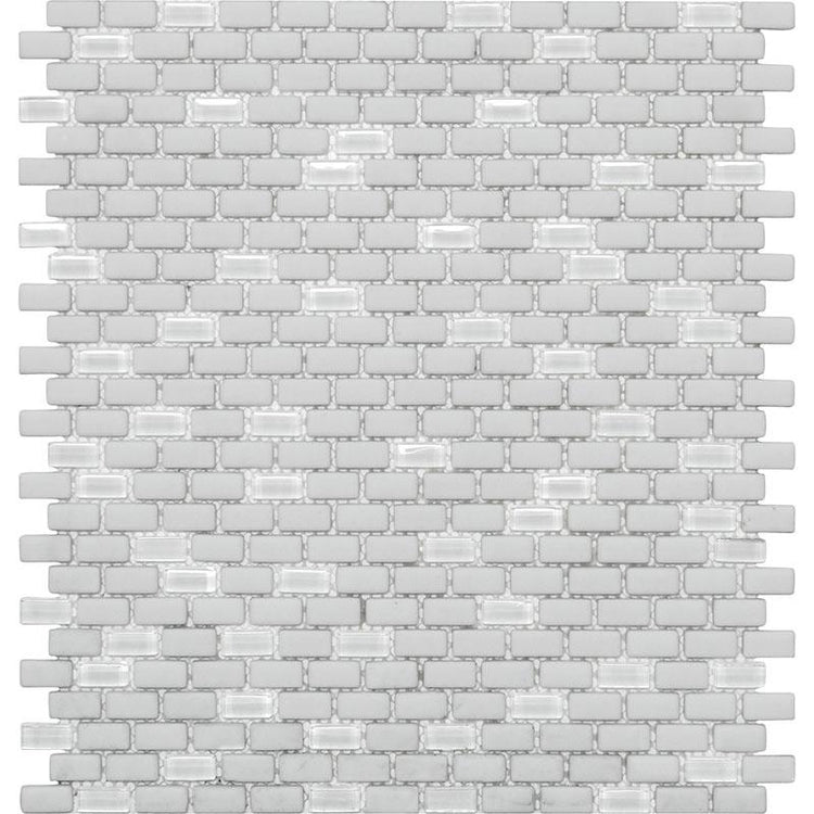 White Recycled Glass Brick Mosaic Tile | Tile Club | Position1