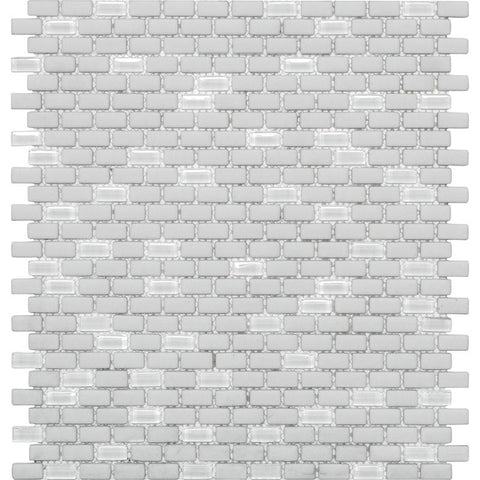 White Recycled Glass Brick Mosaic Tile