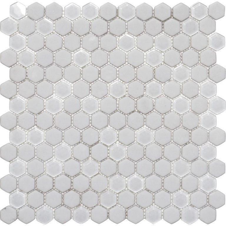 White Recycled Glass Hexagon Mosaic Tile | Tile Club | Position1