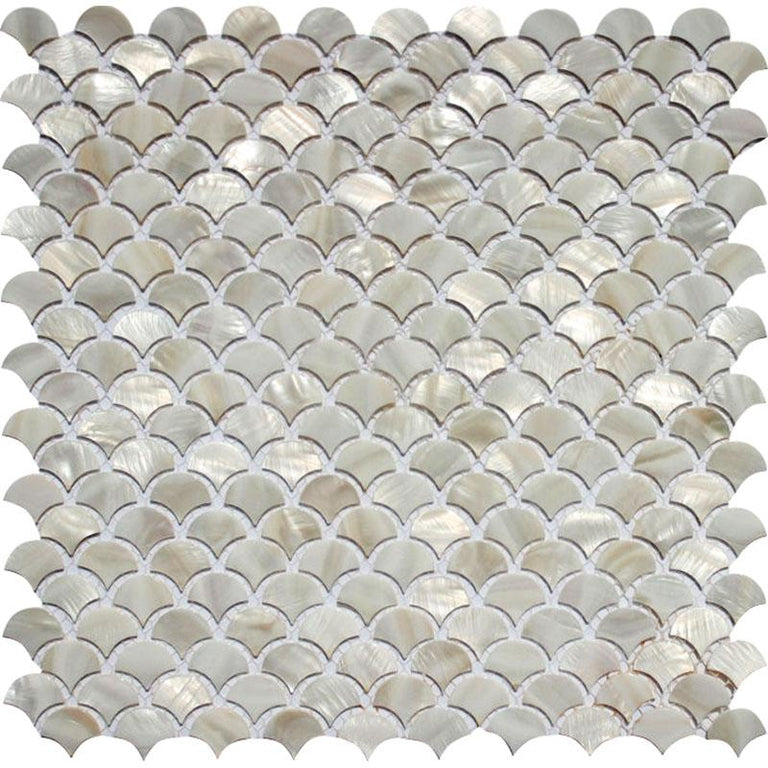 "11.8"" x 11.8"" White Scales Mother Of Pearl Mosaic Tile 