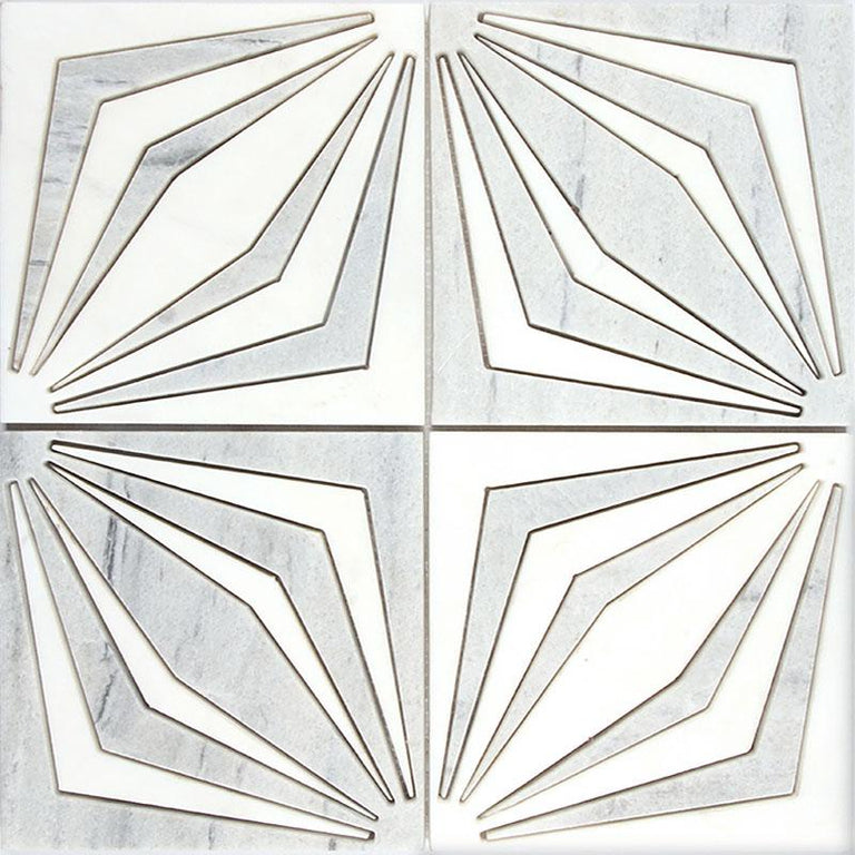 White Striped Diamonds Marble Mosaic Tile | Tile Club
