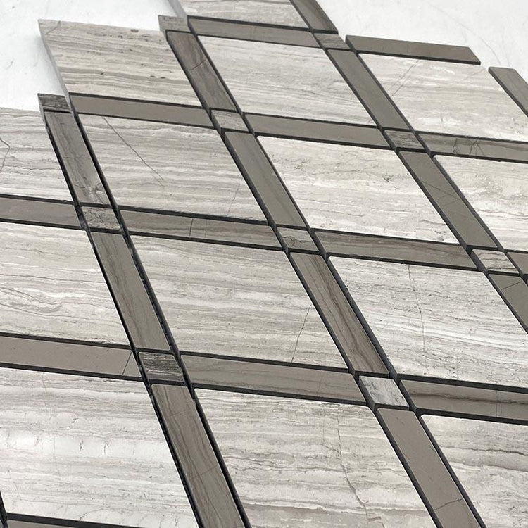 Wooden Beige Diamond with Athens Grey Lines Marble Mosaic Tile