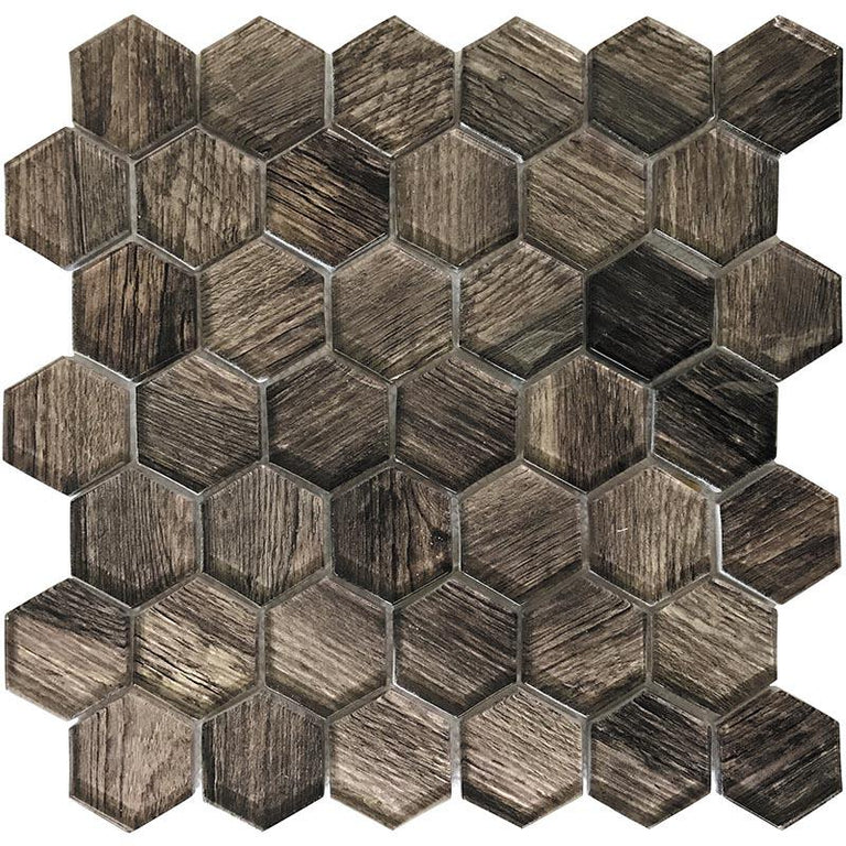 "11.8"" x 11.8"" Wooden Glass Hexagon Mosaic Tile 