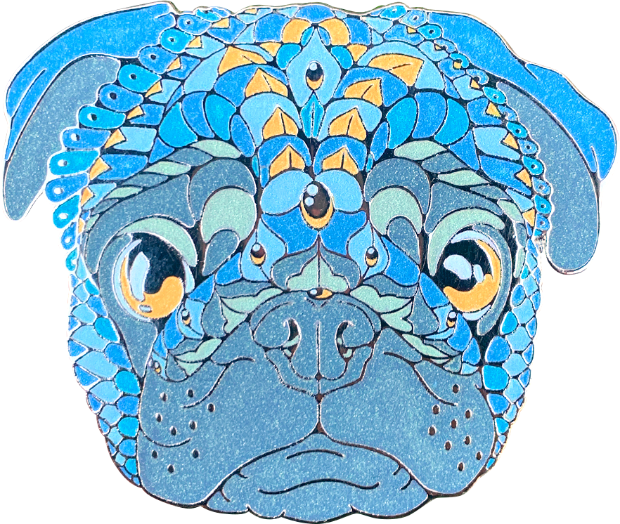 Sapphire Pug Pin (Edition of 75)