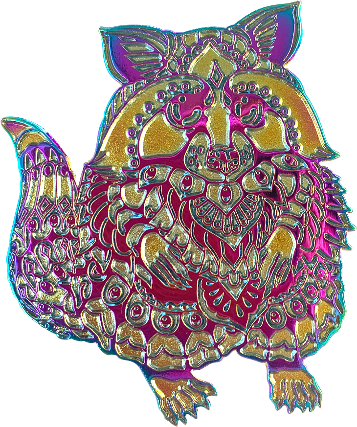 Raw Anodized Trash Panda Pin