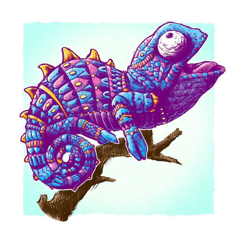 Baby Chameleon Blue Variant Art Print (Edition of 17)