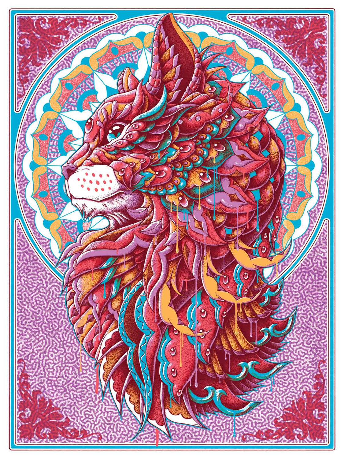 Cat Art Print Red Variant (Edition of 23)