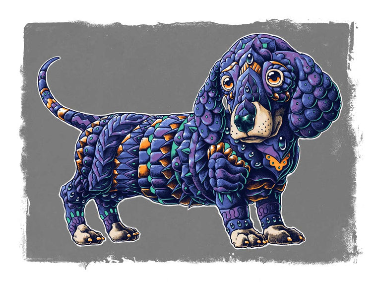 Dachshund Art Print Blue Variant (Edition of 41)