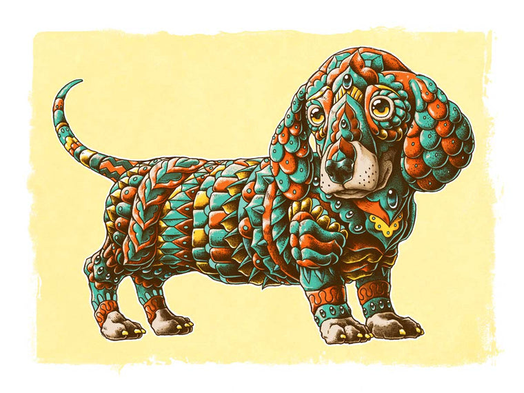 Dachshund Art Print Orange Variant (Edition of 31)