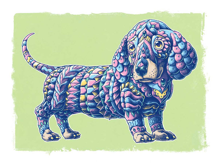 Dachshund Art Print Pastel Variant (Edition of 23)