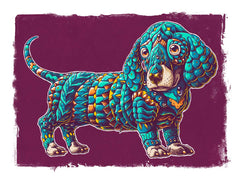 Dachshund Art Print Teal Variant (Edition of 13)