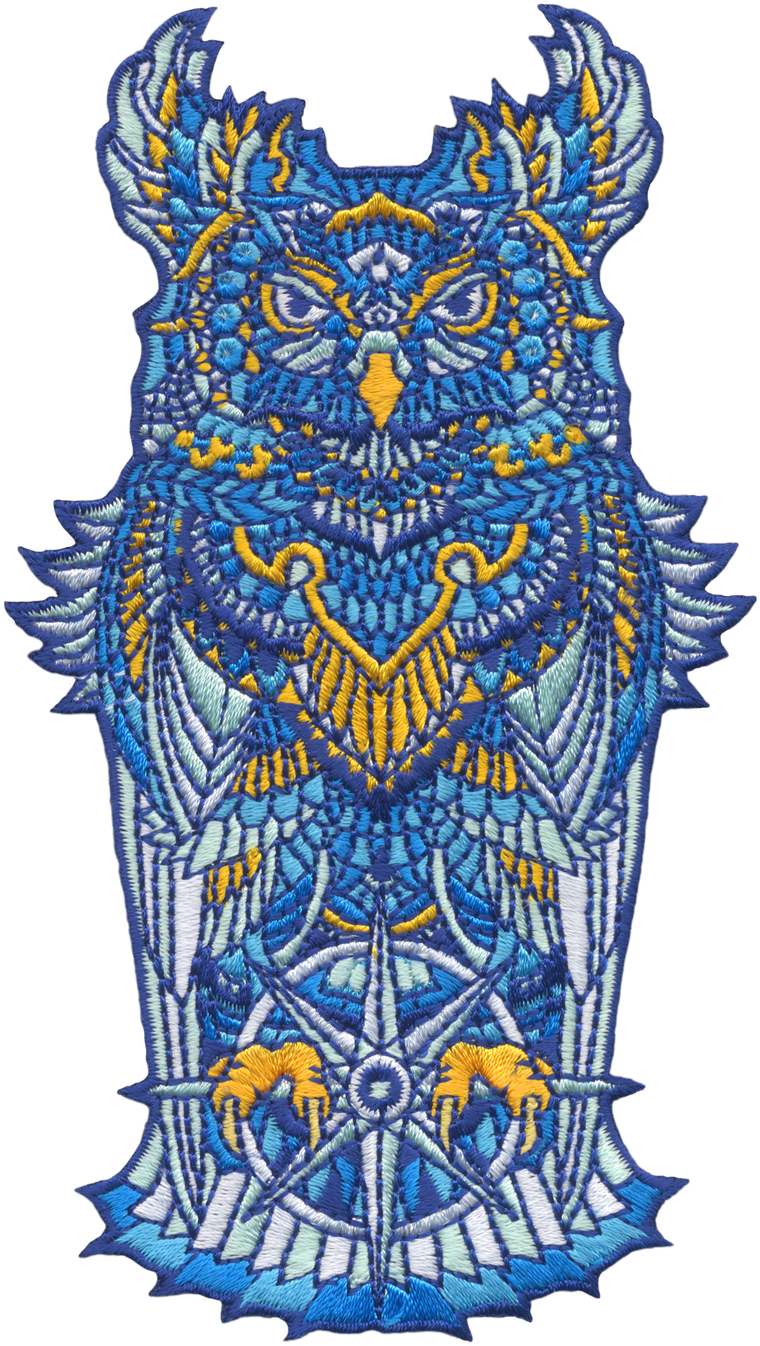 Grand Sapphire Owl (Embroidered Patch)