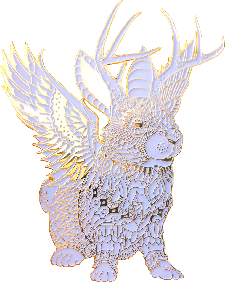 Albino Jackalope Pin (Edition of 25)